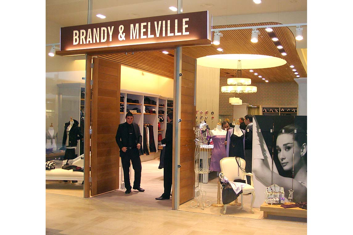 Brandy & Melville shopfront showing brand identity and shop design created by Stanza Design