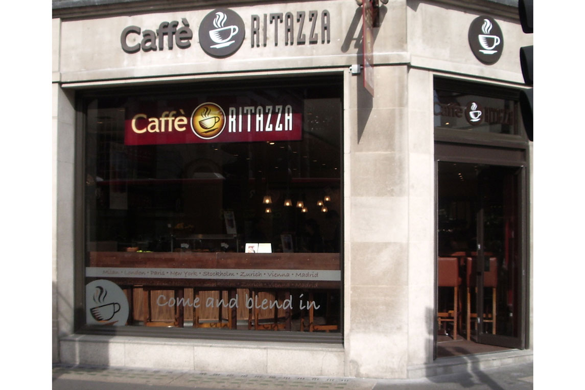 Shopfront design for Caffè Ritazza Concept  Piccadilly  London provided by Stanza Design