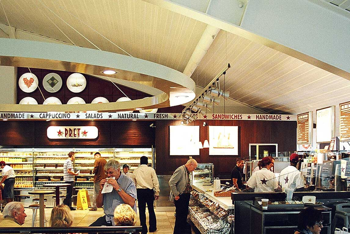 Pret A Manger Luton Airport bold design implemented by London architectural and interior design practice Stanza Design