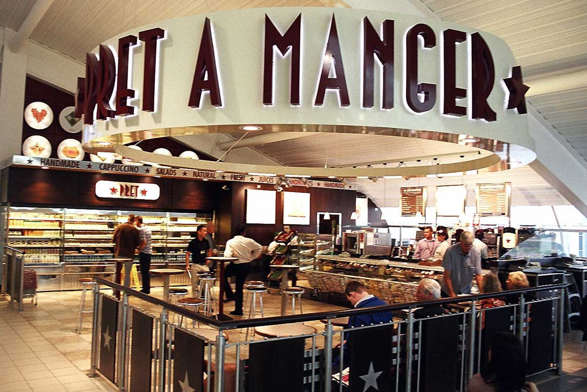 Pret A Manger brand in the centre of Luton Airport departure lounge by Stanza Design