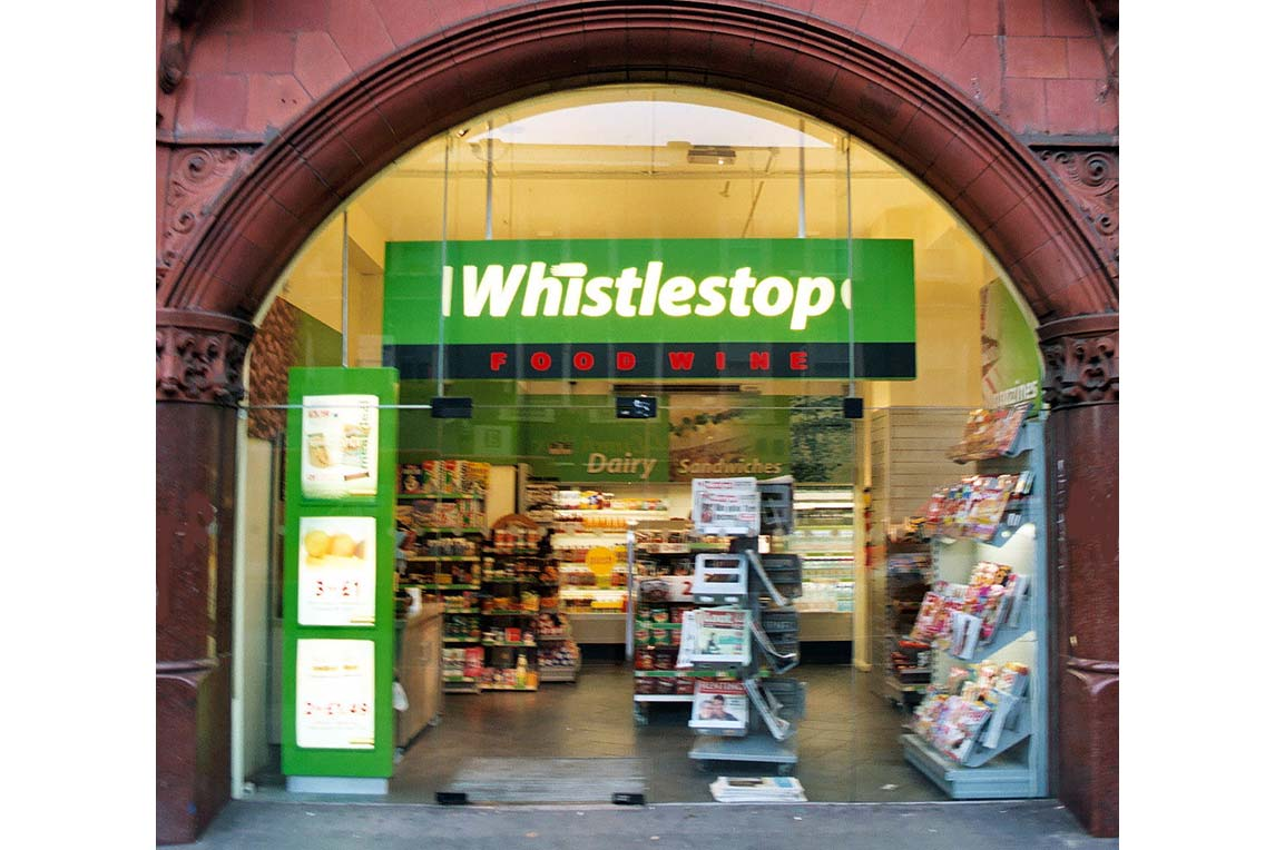 Whistlestop entrance at London train station with new brand designed by Stanza Design.