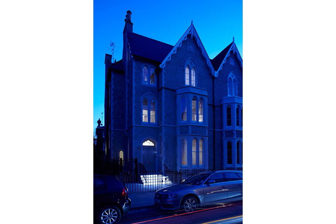 House, Kensington - Nightime exterior view - Front facade - Stanza Design